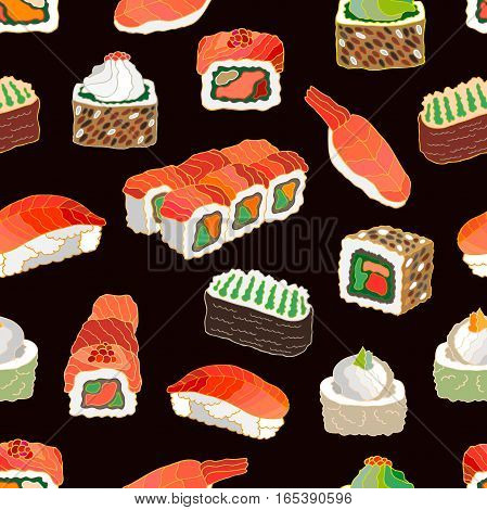 Template for Japanese food menu. Set of rolls.