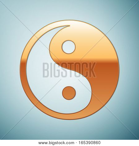 Gold Yin Yang symbol icon on blue background . Vector Illustration