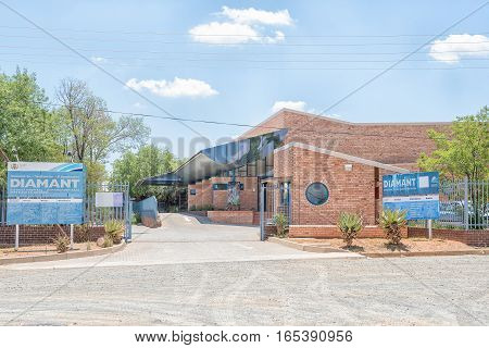 JAGERSFONTEIN SOUTH AFRICA - DECEMBER 31 2016: The Diamant District Hospital in Jagersfontein a diamond mining town in the Free State Province of South Africa