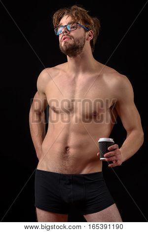 Bearded Sexy Man Holding Coffee