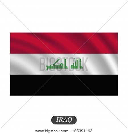 Waving Iraq flag on a white background. Vector illustration