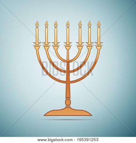 Gold Hanukkah menorah icon on blue background . Vector Illustration