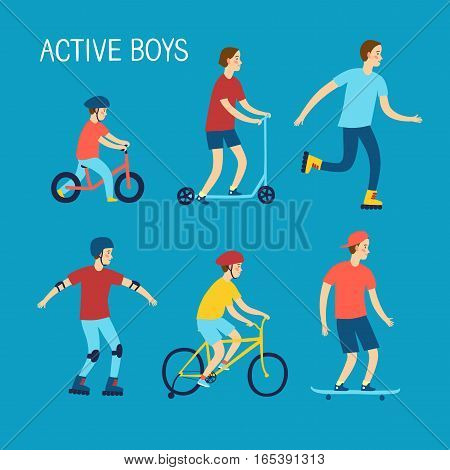 Summer activities for kids. Cartoon set. Active boys riding and playing outdoor.Characters illustration for your design.