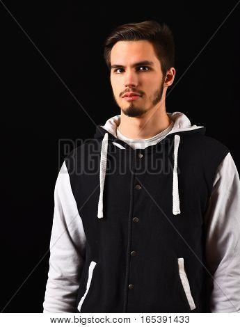 Bearded Guy In Baseball Jacket