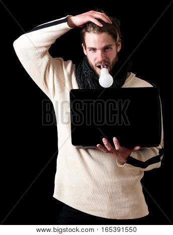 Bearded Guy With Laptop And Lamp