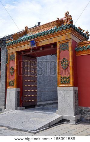 Gate in Shenyang Imperial Palace Mukden Palace, Shenyang, Liaoning Province, China. Shenyang Imperial Palace is UNESCO world heritage site built in 400 years ago.