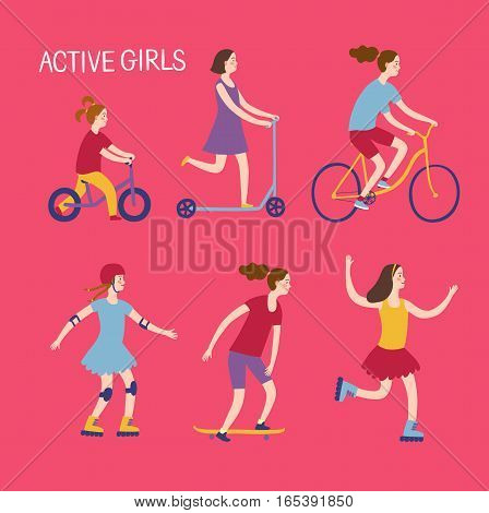 Summer activities for kids. Cartoon set. Active girls riding and playing outdoor.Characters illustration for your design.