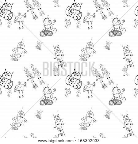 Seamless vector robot doodle pattern. The concept of science and the future. Cartoon style. Hand-drawn outline illustration. Black and white background.