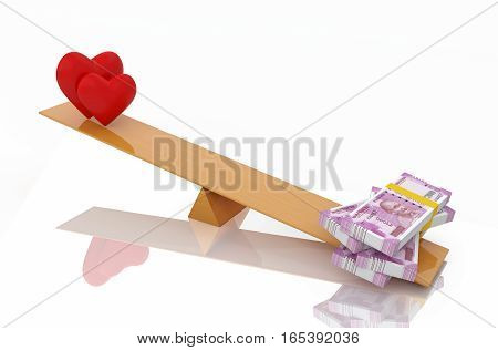 New Indian Currency with Heart Symbol - 3D Rendered Image