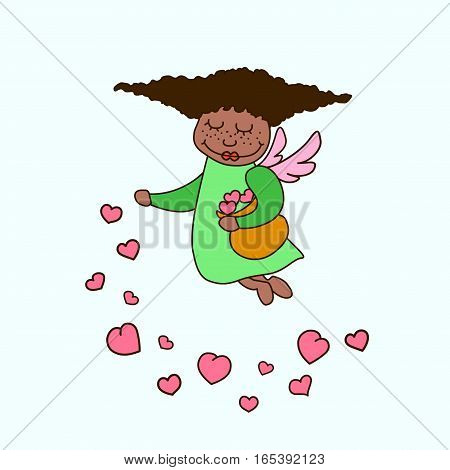 Vector illustration african american little angel with hearts. Greeting invitation card for saint Valentine day wedding day