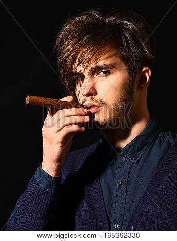 Serious Bearded Man Smoking Cigar
