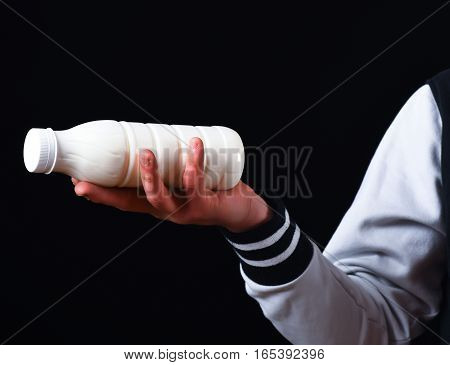 Male Hand Holding Kefir