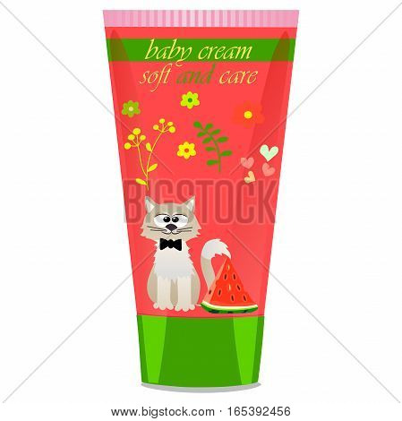High quality original trendy vector Baby cream tube with kids design and cat, watermelon illustration