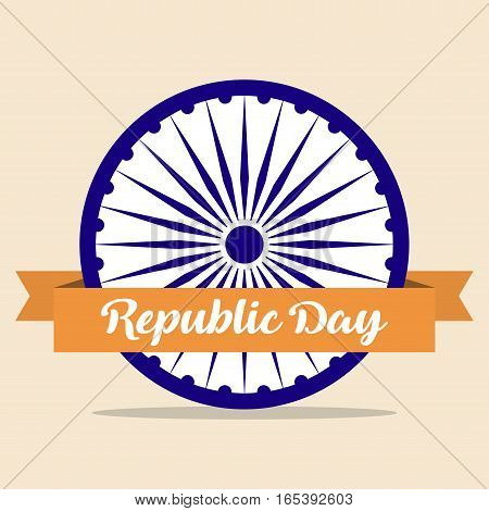 Indian Republic Day concept background with Ashoka wheel and ribbon