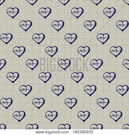 Healthcare and medicine. Vector doodle seamless pattern with hearts. Medical hand drawn icons on checkered background.
