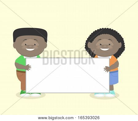 Two children a boy and a girl African American keep information poster. Vector cartoon