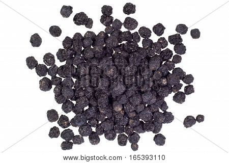 pile of aronia berries isolated on white background