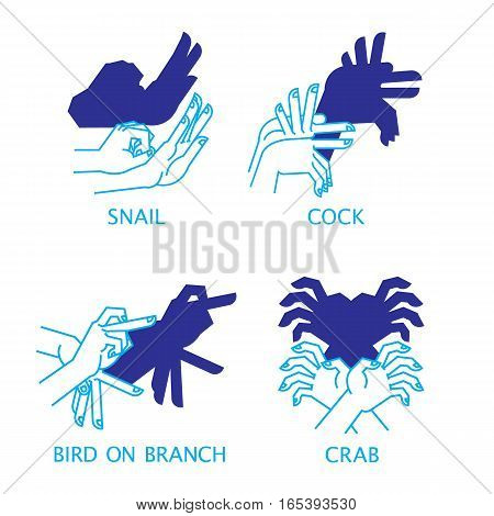 Shadow Hand Puppets Isolated on a White Background for Your Design. Shadow Theater or Shadow Play. Set. Snail, Cock, Bird on Branch and Crab. Vector illustration.