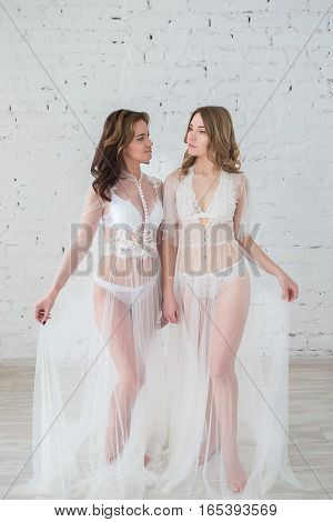 Lesbians in sexy lingerie in a white room.