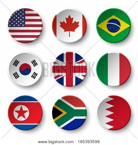 Set of world flags round badges ( USA . Canada . Brazil . South korea . United kingdom of great britain . Italy . North korea . South africa . Bahrain )