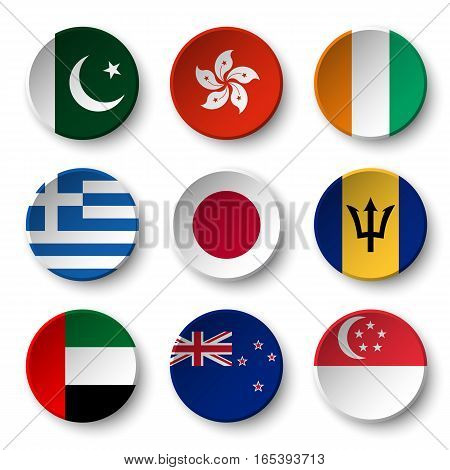 Set of world flags round badges ( Pakistan . Hong kong . Ivory Coast . Greece . Japan . Barbados . UAE . New zealand . Singapore )