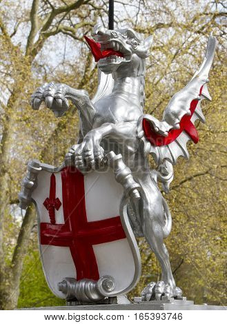 St George's Dragon Monument,  which is the gateway to the City of London - Westminster, London, England, April 2014