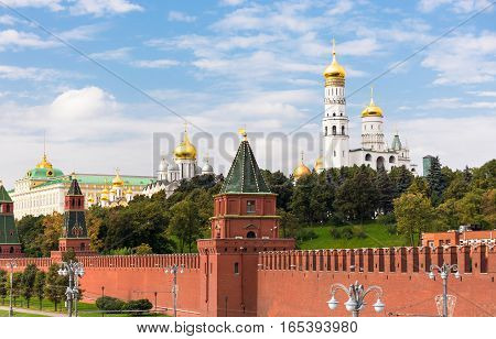 Kremlin wall and Ivan the Great Belltower in Moscow Russia