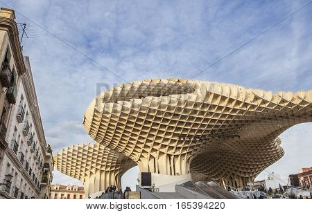 Seville Spain - January 2 2017: Metropol Parasol is a structure located at La Encarnacion square the Central Market located on the first floor of this building