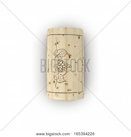 Wine Cork on white background. Top view. 3D illustration