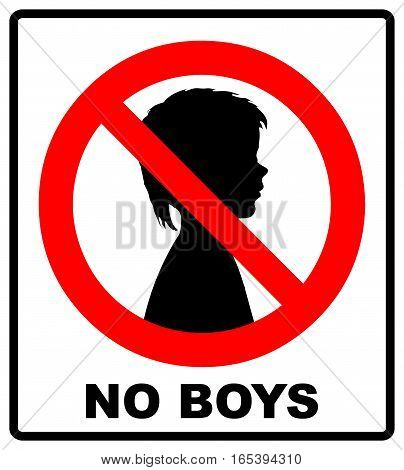 no boys allowed with male symbol - vector illustration, boys half-face silhouette in red prohibition symbol