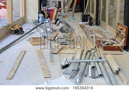 Construction Site Renovation With Work Tools and Materials