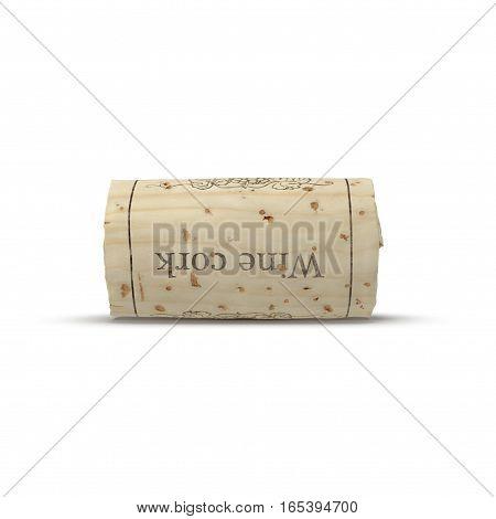 Wine Cork on white background. Side view. 3D illustration