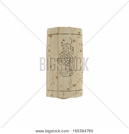 Top view Wine Cork on white background. 3D illustration