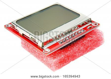 LCD display for mobile phone on white background