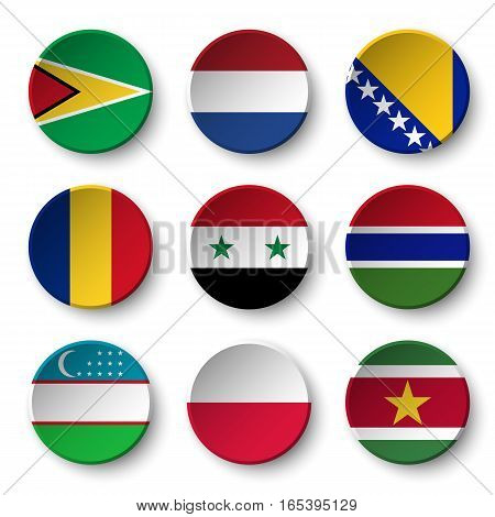 Set of world flags round badges ( Guyana . Netherlands . Bosnia and Herzegovina . Romania . Syria . Gambia . Uzbekistan . Poland . Suriname )