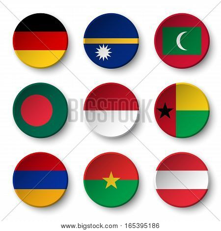 Set of world flags round badges ( Germany . Nauru . Maldives . Bangladesh . Indonesia . Guinea-Bissau . Armenia . Burkina Faso . Austria )
