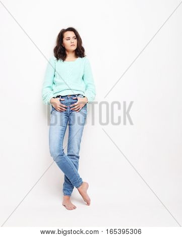 lifestyle, fashion and people concept: fashion woman model posing in studio