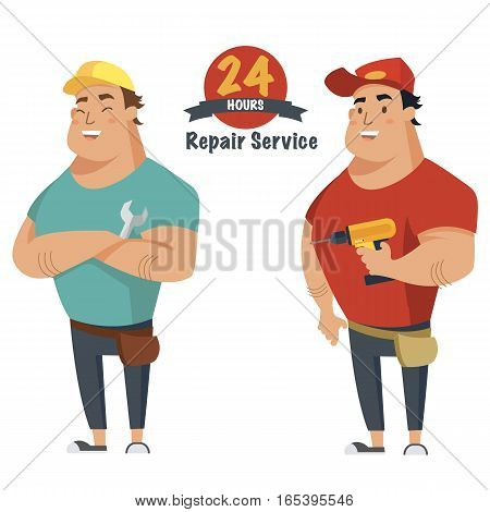 Repair man with wrench and drill in hand. Plumber, mechanic or handyman in work clothes.Set of two characters. Flat vector illustration