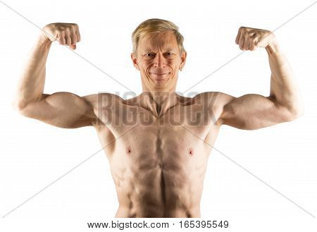 Fifty-year-old Man Shows Front Double Bicep