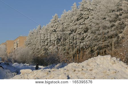 Winter city with huge stacks of snow after Heavy snowfalls.