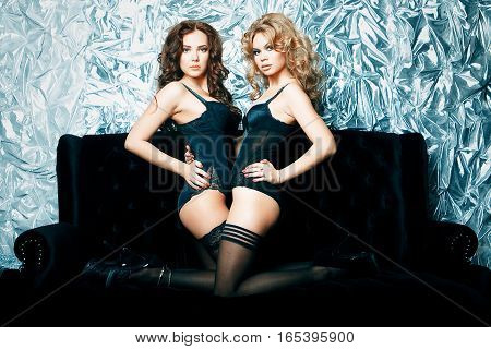 two young sexy woman in lingerie on sofa
