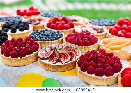 Fruit and berry tarts dessert tray assorted outdoors. Closeup of beautiful delicious pastry sweets with fresh natural raspberries and figs. French Bakery catering. Shallow depth of field