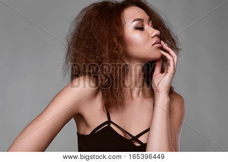 Sensual Portrait Of Glamor Elegant Black Woman Model
