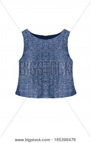 Elegant blue sleeveless top on white background