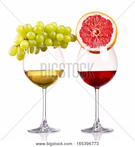 Glass Of Red And White Wine, Grape And Grapefruit On A White Background And With Soft Tenyu.fayl Inc