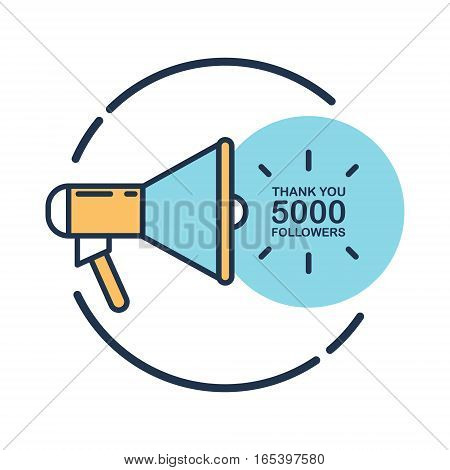 5000 followers, Thank You card template with megaphone for social networks, promotion and advertising. Flat design vector illustration.