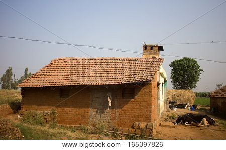 Poor Indian household (farm) 6. Cattle house. Andhra Pradesh Anantapur