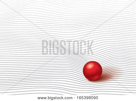 Volumetric red ball on striped and wrinkled surface, wave lines, minimalistic vector abstraction