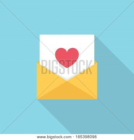 Letter, email or message with heart symbol. Flat style vector Illustration.