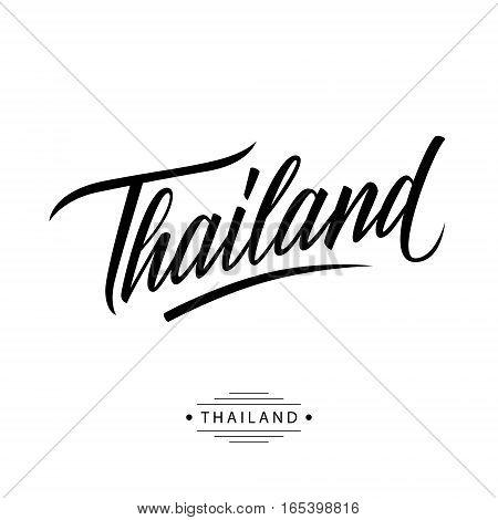 Handwritten word Thailand. Hand drawn lettering. Calligraphic element for your design. Vector illustration.